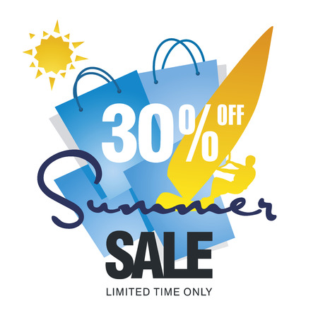 limited: Summer big sale bag 30 percent off discount offer windsurf board sun card blue background vector