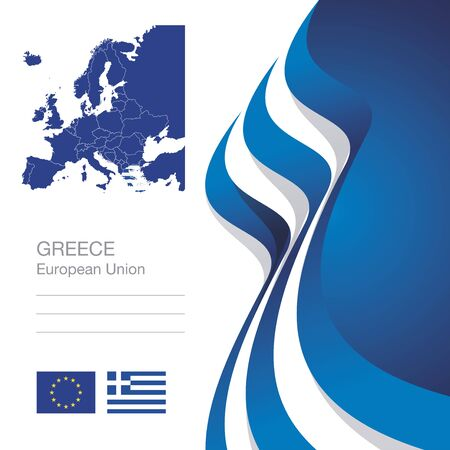 greece flag: Greece European Union flag ribbon map abstract background