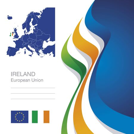 irish map: Ireland European Union flag ribbon map abstract background Illustration