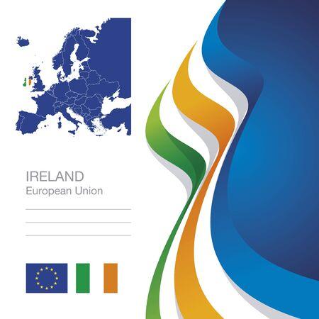 Ireland European Union flag ribbon map abstract background Illustration