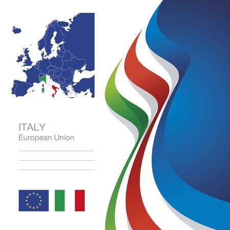 tapes: Italy European Union flag ribbon map abstract background