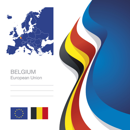 black yellow: Belgium European Union flag ribbon map abstract background Illustration