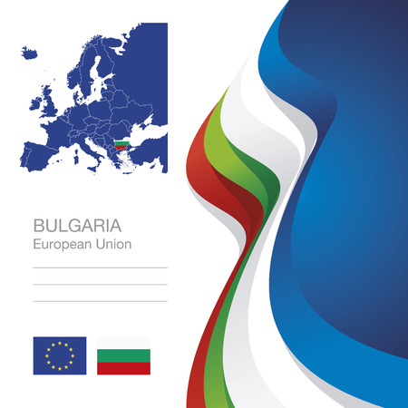 europeans: Bulgaria European Union flag ribbon map abstract background