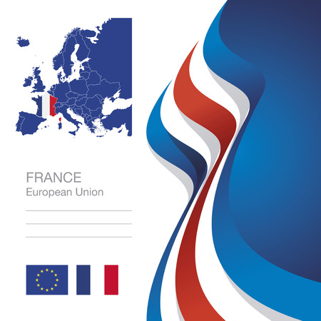 state election: France European Union flag ribbon map abstract background