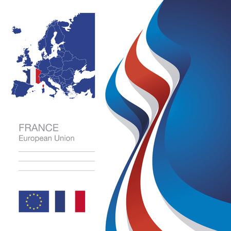 Francja Unia Europejska flaga mapa abstrakcyjne tło wstążka Ilustracje wektorowe