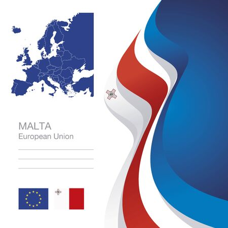 maltese map: Malta European Union flag ribbon map abstract background