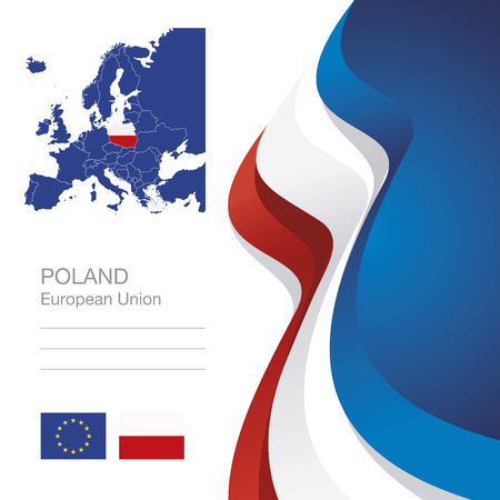 bandera de polonia: Poland European Union flag ribbon map abstract background