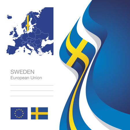Sweden European Union flag ribbon map abstract background