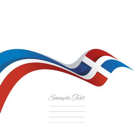 Abstract cover Dominican Republic flag ribbon banner vector white background