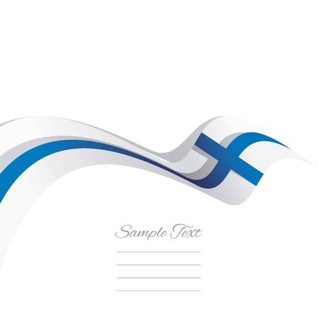 FINLAND flag: Abstract cover Finland flag ribbon banner vector white background