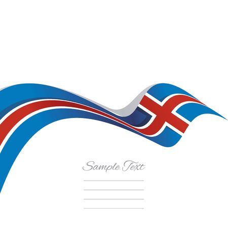 iceland flag: Abstract cover Iceland flag ribbon banner vector white background