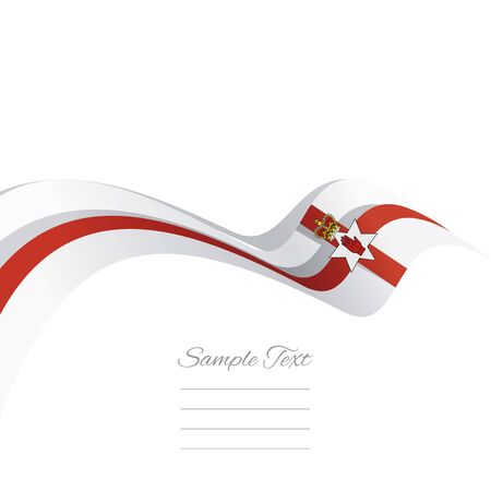northern ireland: Abstract cover Northern Ireland flag ribbon banner vector white background