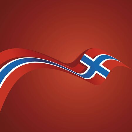 background banner: Abstract cover Norway flag ribbon banner vector background