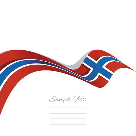 norway flag: Abstract cover Norway flag ribbon banner vector white background