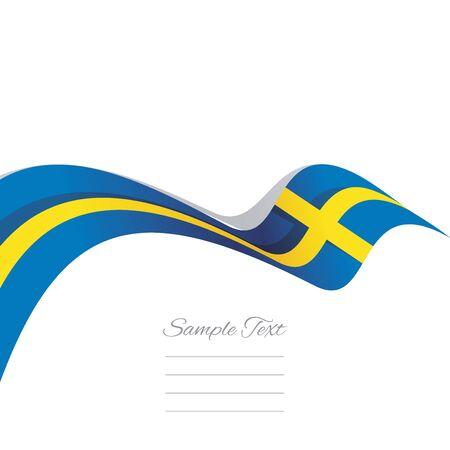 Abstract cover Sweden flag ribbon banner vector white background Illustration