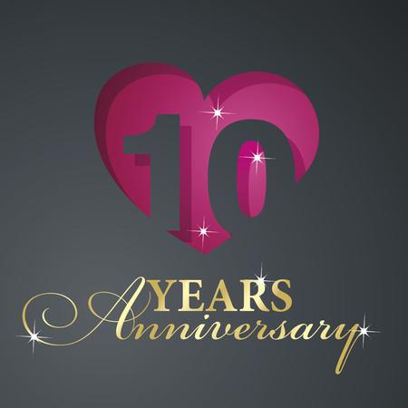 10 years: Gold 10 years anniversary red heart black background