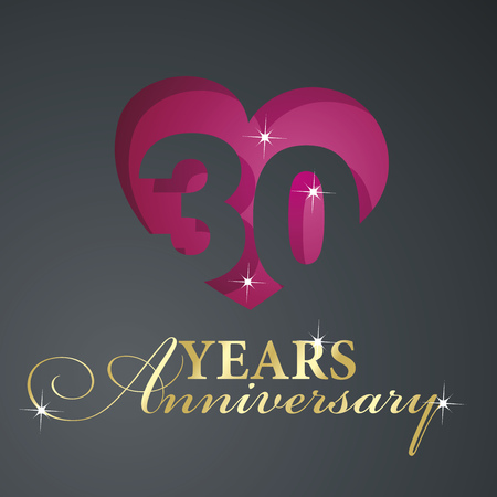 30 years: Gold 30 years anniversary red heart black background Illustration