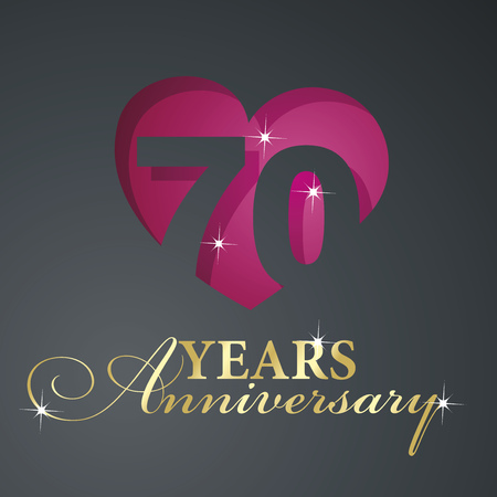 70 years: Gold 70 years anniversary red heart black background Illustration