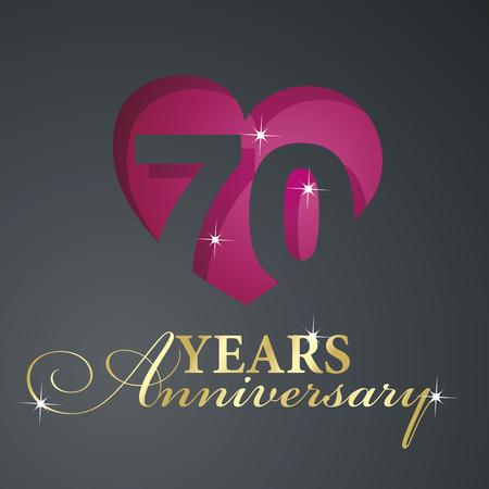 anniversary celebration: Gold 70 years anniversary red heart black background Illustration