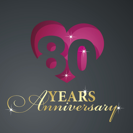 Gold 80 years anniversary red heart black background