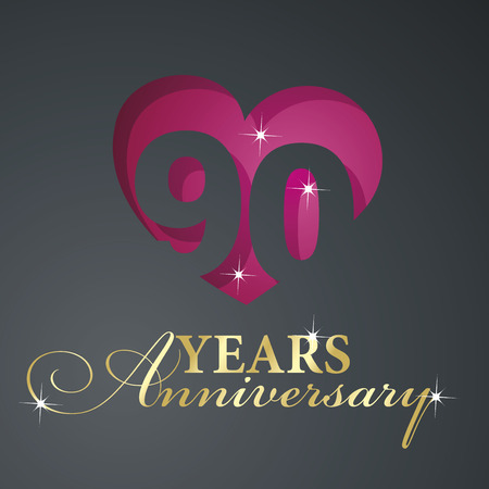 90 years: Gold 90 years anniversary red heart black background Illustration