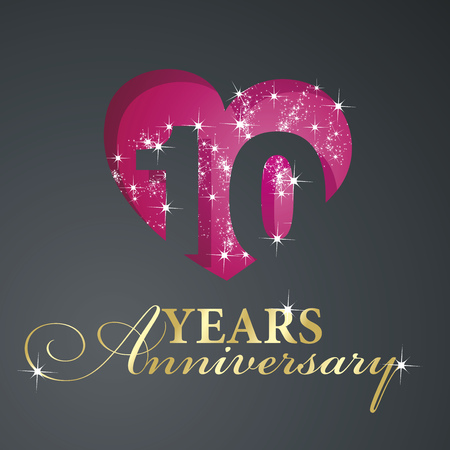 10 years: Gold 10 years anniversary firework red heart black background