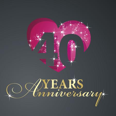 aniversario de boda: Oro de 40 años de aniversario de fuegos artificiales corazón rojo fondo negro Vectores