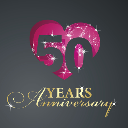 Gold 50 years anniversary firework red heart black background Illustration