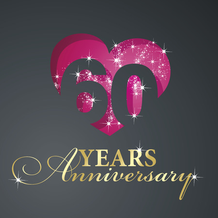 60 years: Gold 60 years anniversary firework red heart black background