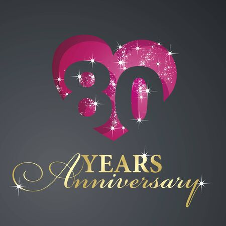 80th: Gold 80 years anniversary firework red heart black background
