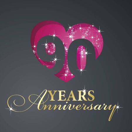 90th: Gold 90 years anniversary firework red heart black background