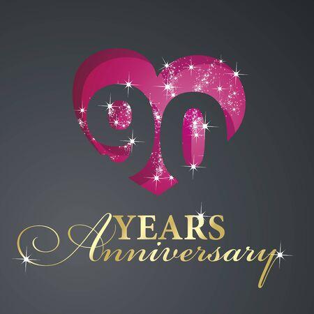 90 years: Gold 90 years anniversary firework red heart black background