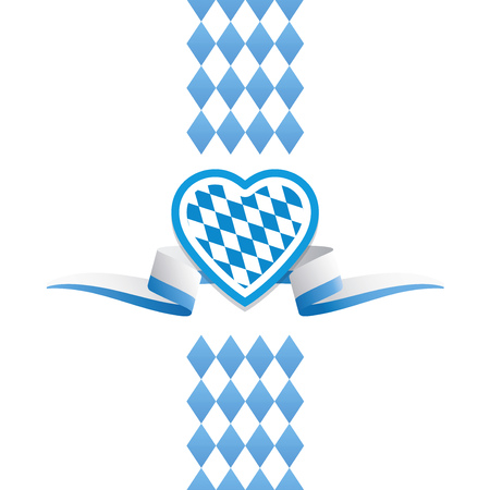 Oktoberfest heart Bavaria flag ribbon background