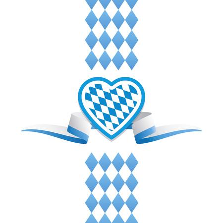 Oktoberfest heart Bavaria flag ribbon background