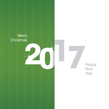 background calendar: 2017 New Year green white gray background