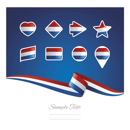 Abstract background Netherlands flag ribbon icon set vector Illustration