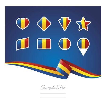 romania flag: Abstract background Romania flag ribbon icon set vector Illustration