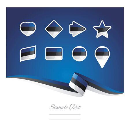 estonia: Abstract background Estonia flag ribbon icon set vector Illustration
