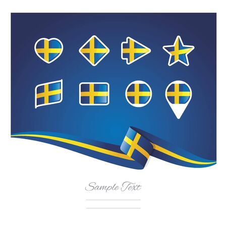 Abstract background Sweden flag ribbon icon set vector Illustration