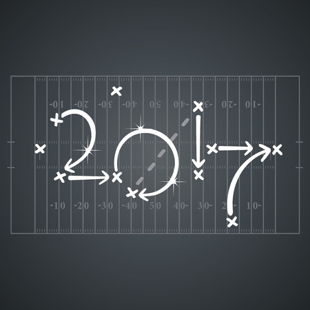 formations: American Football strategies for goal 2017 black board background