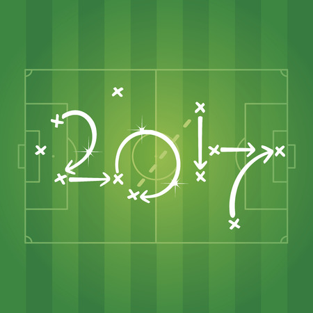 Soccer strategy for goal 2017 green background