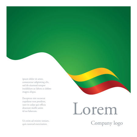 New brochure abstract design modular single pattern of wavy flag ribbon of Lithuania Illustration