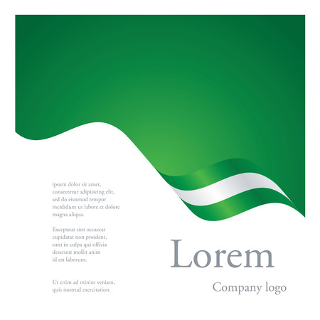 New brochure abstract design modular single pattern of wavy flag ribbon of Nigeria