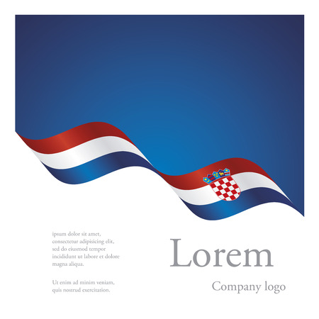 New brochure abstract design modular pattern of wavy flag ribbon of Croatia Vector Illustration