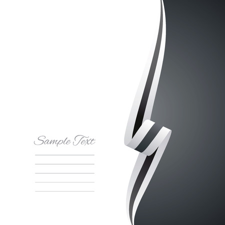 right side: Abstract white black ribbon right side brochure vector