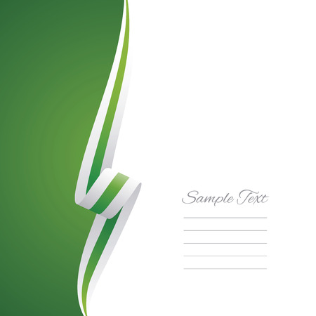 green ribbon: Abstract white green ribbon left side brochure vector
