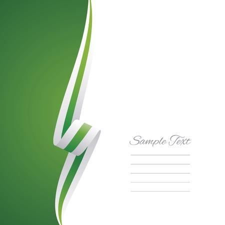 Estratto bianco nastro verde lato sinistro opuscolo vettore Vettoriali
