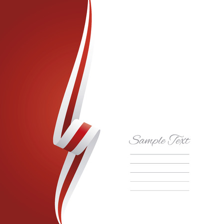 Abstract white red ribbon left side brochure vector