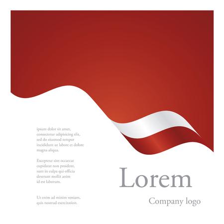 poland: New brochure abstract design modular single pattern of wavy flag ribbon of Poland