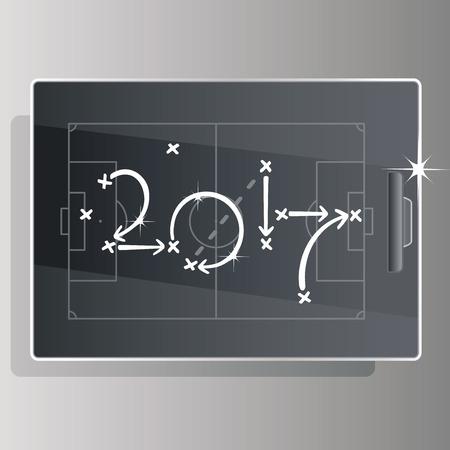 soccer background: Soccer strategy goal 2017 black board background Illustration